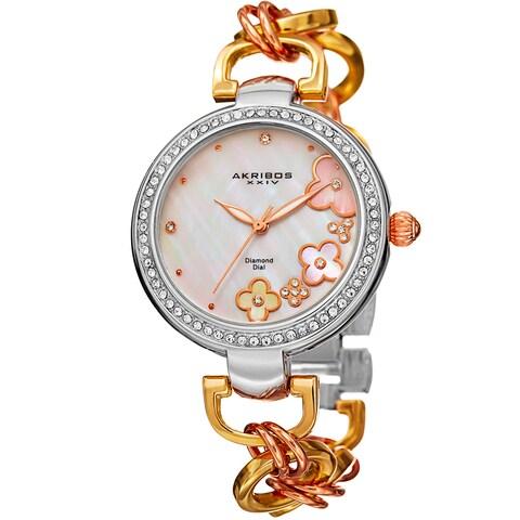 Akribos XXIV Women's Diamond Floral Dial Twist Chain Bracelet Watch - GOLD