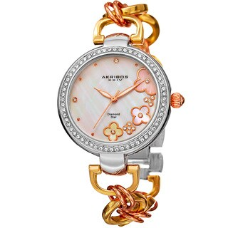 Akribos XXIV Women's Diamond Floral Dial Twist Chain Bracelet Watch - GOLD