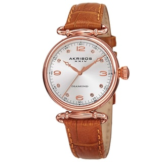 Akribos XXIV Women's Quartz Diamond Leather Brown Strap Watch