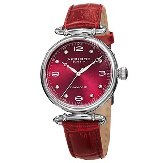 Akribos XXIV Women's Quartz Diamond Leather Strap Watch with FREE GIFT - Purple