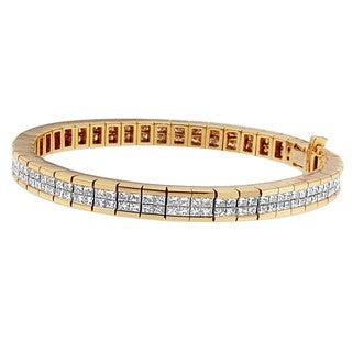 Classic 14k Yellow Gold 2 1/2ct TDW Baguette and Princess-cut Diamond Eternity Bracelet (H-I, SI1-SI2)