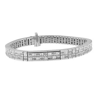 Art Deco-inspired 14k White Gold 8 1/2ct TDW Diamond Eternity Bracelet (H-I,SI1-SI2)
