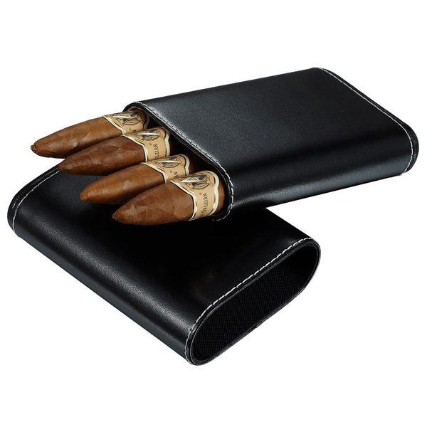 Visol Arnoldo Black Leather Crushproof Cigar Case - 4 Cigars