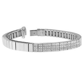 14K White Gold 2 1/8 ct. TDW Princess Cut Diamond Banded Bracelet (H-I, SI1-SI2)