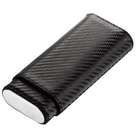 Visol Castillo Carbon Fiber Patterned Leatherette Cigar Case - Holds 3 Cigars
