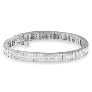 14k White Gold 7 7/8ct TDW Princess and Baguette Diamond Bracelet (H-I, SI1-SI2)