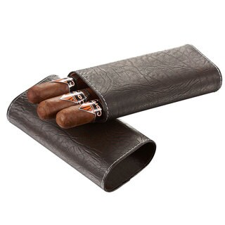 Visol Russell Tobacco Leaf Patterned Brown Leather Cigar Case