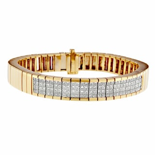 14k Yellow Gold 3 5/8ct TDW Princess Diamond Bracelet (H-I, SI1-SI2)