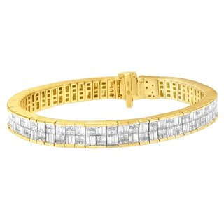 14k Yellow Gold 8 1/2ct TDW Princess and Baguette Diamond Bracelet (H-I,SI1-SI2)