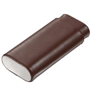 Visol Naturale Dark Brown Leather Crushproof Cigar Case - 3 Cigars