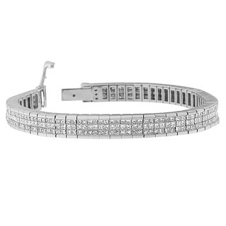14k White Gold 7 7/8ct TDW Diamond Princess Bracelet (H-I, Si1-Si2)