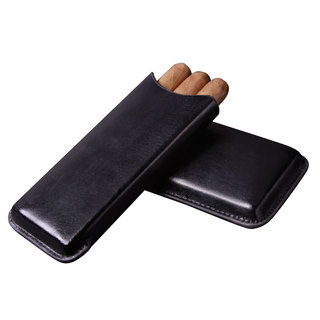 Visol Amenity Black Soft Leather Cigar Case - 3 Cigars