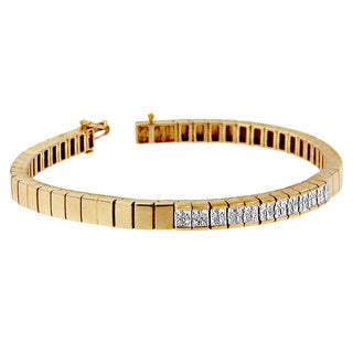14k Yellow Gold 1 1/10ct TDW Princess Bracelet (H-I,Si1-Si2)