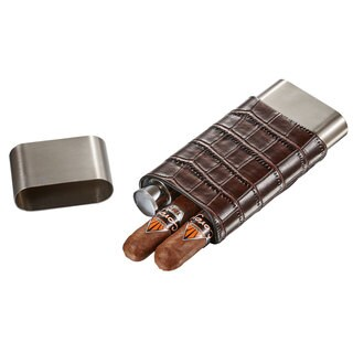 Visol Hacienda Crocodile Patterned Leather and Stainless Steel Cigar Case Flask Combo