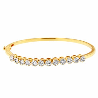 14k Yellow Gold 2ct TDW Round-cut Diamond Floral Bangle (H-I, SI1-SI2)