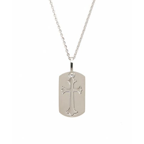 James Cavolini Stainless Steel Cutout Cross Pendant Necklace - White