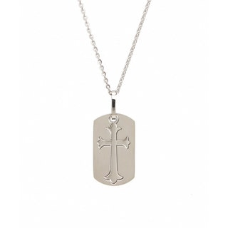James Cavolini Stainless Steel Cutout Cross Pendant Necklace