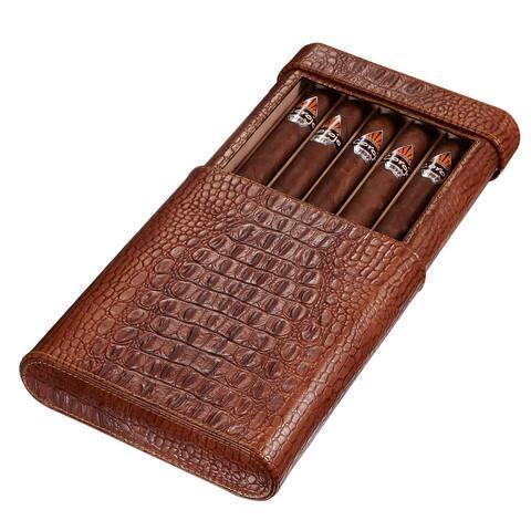 Visol Rennes Crocodile Patterned Leather Travel Cigar Case - Holds 5 Cigars