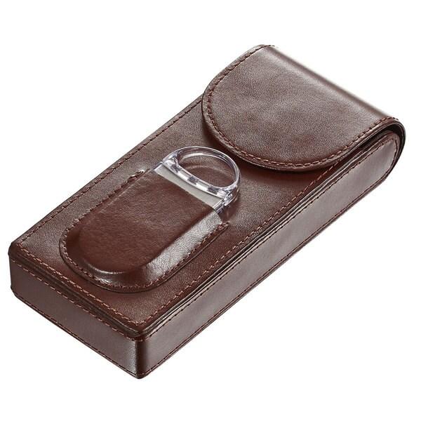 Visol Caldwell Dark Brown Leather Cigar Case with Cigar Cutter
