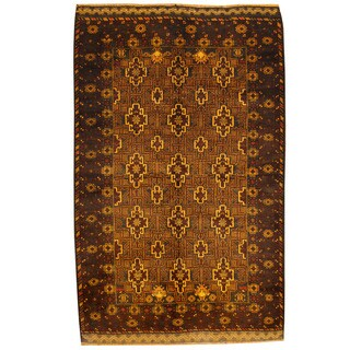 Herat Oriental Afghan Hand-knotted Tribal Balouchi Light Brown/ Navy Wool Rug (4'1 x 6'7)
