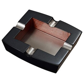 Visol Nomandy Carbon Fiber Patterned Square Wooden Cigar Ashtray