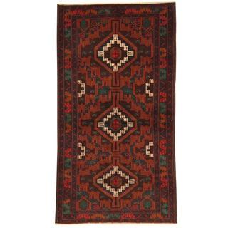 Herat Oriental Afghan Hand-knotted Tribal Balouchi Wool Rug (3'4 x 6'3)
