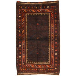 Herat Oriental Afghan Hand-knotted Tribal Balouchi Wool Rug (3'8 x 5'10)