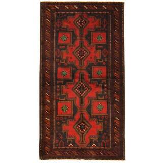 Herat Oriental Afghan Hand-knotted Tribal Balouchi Navy/ Rust Wool Rug (3'5 x 6'7)