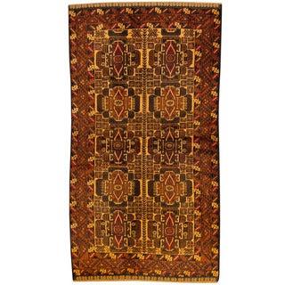 Herat Oriental Afghan Hand-knotted Tribal Balouchi Brown/ Rust Wool Rug (3'5 x 6'2)