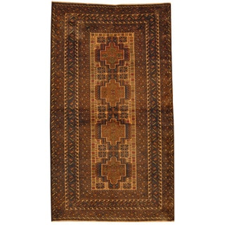 Herat Oriental Afghan Hand-knotted Tribal Balouchi Ivory/ Brown Wool Rug (3'9 x 6'6)