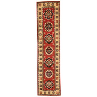Herat Oriental Afghan Hand-knotted Kazak Red/ Ivory Wool Runner (2' x 8'3)