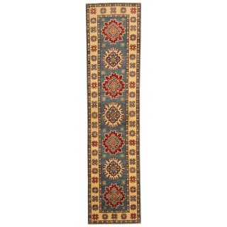 Herat Oriental Afghan Hand-knotted Kazak Green/ Ivory Wool Runner (1'10 x 7'10)