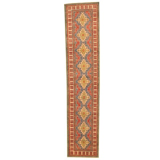 Herat Oriental Afghan Hand-knotted Kazak Red/ Ivory Wool Runner (2'5 x 11'5)