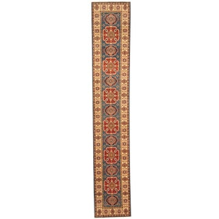 Herat Oriental Afghan Hand-knotted Kazak Blue/ Ivory Wool Runner (2' x 11'3)