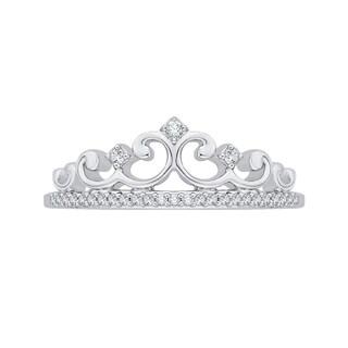 10k White Gold 1/10ct TDW White Diamond Crown Ring