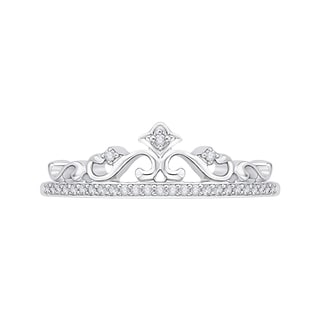 10k White Gold 1/10ct TDW White Diamond Crown Ring