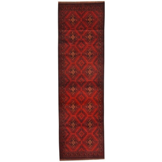 Herat Oriental Afghan Hand-knotted Khal Mohammadi Red/ Navy Wool Runner (2'10 x 9'7)
