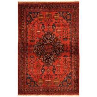 Herat Oriental Afghan Hand-knotted Tribal Khal Mohammadi Wool Rug (3'4 x 5')