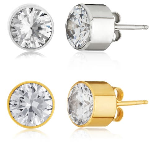 Women's Stainless Steel Bezeled 8mm Cubic Zirconia Stud Earrings - Silver