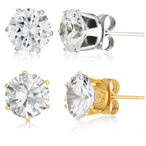 Stainless Steel 8mm Round Cut Cubic Zirconia Stud Earrings - Silver