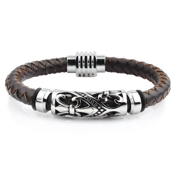 Crucible Stainless Steel Fleur De Lis Brown Leather Bracelet by West Coast Jewelry