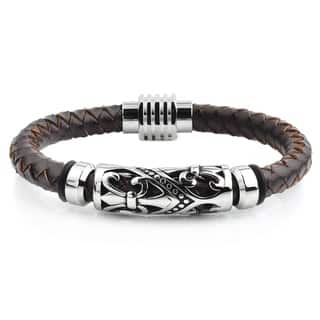 Crucible Stainless Steel Fleur de Lis Brown Leather Bracelet - 9 inches|https://ak1.ostkcdn.com/images/products/10736318/P17792730.jpg?impolicy=medium