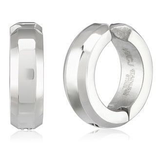 Women's Stainless Steel Beveled Clip-on Hoop Earrings