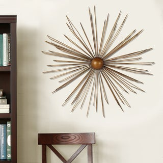 Adeco Decorative Goldtone Iron Starburst Design Wall Hanging