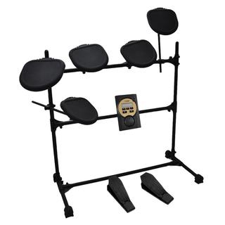 Pyle PED041 MP3 Play Along Headphone Compatible 7-piece Electric Drum Set with Five Pads, and Two Kick Pedals
