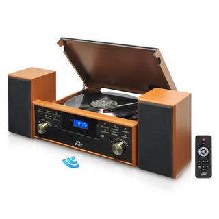 Pyle PPTCM80BT-V Vintage Retro Classic Style Bluetooth Turntable Speaker System with Vinyl/ MP3 Recording Ability