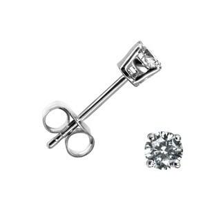 10k White Gold 1/4ct TDW Diamond Round Stud Earrings (H-I, I1-I2)