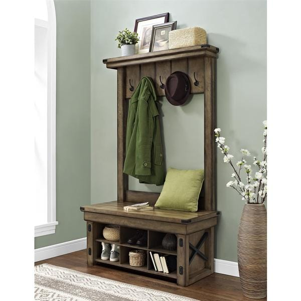 Folding Foyer Bench : Altra wildwood entryway hall tree with bench storage