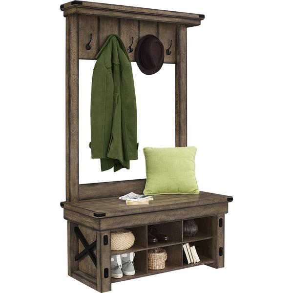 Coat Rack With Shoe Storage: Entry Bench And Coat Rack Hall Tree With Shelf Shoe