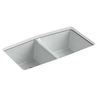 Kohler Brookfield Undermount Cast Iron 33 inch 5-Hole Double Bowl Kitchen Sink in Ice Grey